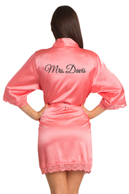 Zynotti Personalized Glitter Print Mrs. Lace Satin Robe
