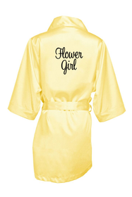 Embroidered Flower Girl Satin Robe