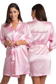 Zynotti Personalized Embroidered Monogram Bridesmaid Satin Robe