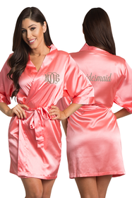 Zynotti Personalized Embroidered Monogram Bridesmaid Satin Robe