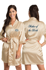 Personalized Embroidered Monogram Mother of the Bride Satin Robe