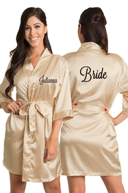 Zynotti Personalized Embroidered Bride Satin Kimono Robe