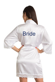 Custom Glitter Print Bride Lace Satin Kimono Robe