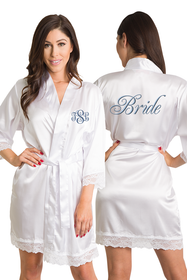 Personalized Embroidered Monogram Bride Lace Satin Robe