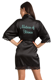 Zynotti Embroidered Matron of Honor Black Satin Robe with Black Lace Trim