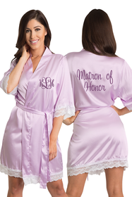Personalized Embroidered Monogram Matron of Honor Lace Satin Robe