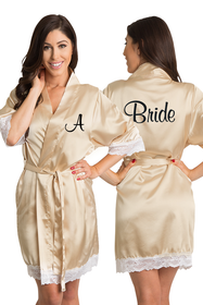 Zynotti Personalized Embroidered Bride Champagne Satin Robe with White Lace trim
