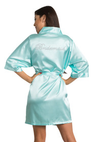 Rhinestone Bridesmaid Satin Robe - Available in 25 Robe Colors