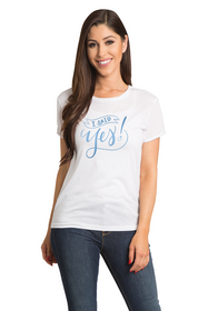 Zynotti I Said Yes Bride-to-be Newly Engaged Bachelorette Engagement Party White Tee Shirt Top