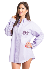 Zynotti Personalized Embroidered Monogram Oversized Lavender Oxford Shirt
