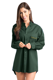 Zynotti embroidered bridesmaid wedding bridal party getting ready oversized dark green oxford shirt