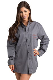 Zynotti embroidered maid of honor oversized Charcoal Gray oxford long sleeve shirt