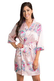 Zynotti Pink floral wedding party satin robe pink floral bridesmaid robe