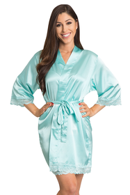 Zynotti Aqua Lace plain satin robe