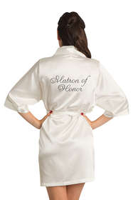 Custom Rhinestone Matron of Honor Satin Robe