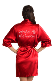Custom Rhinestone Mother of the Groom Satin Robe
