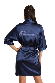 Custom Rhinestone Bridesmaid Satin Robe