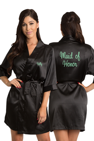 Personalized Embroidered Maid of Honor Satin Kimono Robe