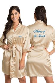 Personalized Embroidered Mother of the Bride Satin Kimono Robe