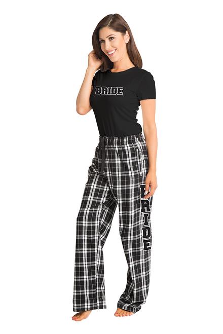 Zynotti bride matching black and white flannel plaid pajama lounge sleepwear pants with bride black crewneck tee shirt top