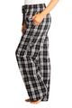 zynotti Women's Custom Print black and white Flannel plaid Pajama lounge sleepwear Pants