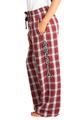 zynotti Women's Custom Print maroon burgundy white Flannel plaid Pajama lounge sleepwear Pants