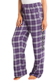 zynotti Women's Custom Print purple white Flannel plaid Pajama lounge sleepwear Pants