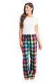 zynotti Women's Custom Print neon Flannel plaid Pajama lounge sleepwear Pants