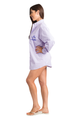 Zynotti personalized embroidered oversized lavender oxford shirt