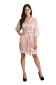 Embroidered Bridesmaid Blush Satin Robe with White Lace Trim