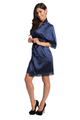 Embroidered Bridesmaid Navy Satin Robe with Navy Lace Trim