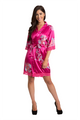 Zynotti fuchsia floral lace trimmed satin robe