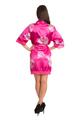 Zynotti Fuchsia floral lace satin kimono robe