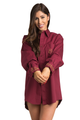 Zynotti personalized embroidered oversized burgundy oxford long sleeve shirt