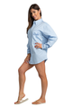 Zynotti personalized custom embroidered oversized light blue oxford long sleeve shirt