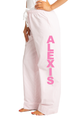 Zynotti personalized custom print pink seersucker flannel pajama pants