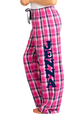 Zynotti personalized custom print pink and blue plaid flannel pajama pants