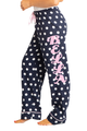 Zynotti personalized custom print navy blue white polka dot flannel pajama pants