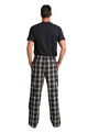 Zynotti hubby matching black and white flannel plaid pajama lounge sleepwear pants with hubby black crewneck tee shirt top