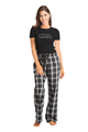 Zynotti mrs. matching black and white flannel plaid pajama lounge sleepwear pants with mrs black crewneck tee shirt top