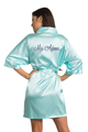 Zynotti's personalized embroidered Mrs. Satin robe in Aqua Blue