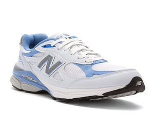 New Balance Women's W990WB3 Running Shoe White/Blue