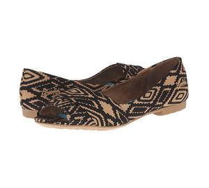 Blowfish Women's Rale Peep Toe Flat Rust Apache Print