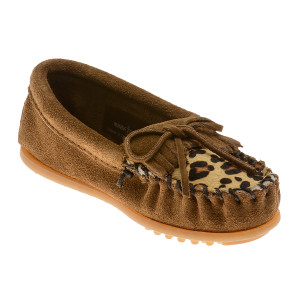 Minnetonka Girl's Leopard Kilty Moc Dusty Brown | Minnetonka 2343 DST