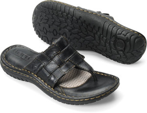 Born Women's Viv Slide Sandal Black Leather