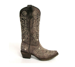 Corral Girl's A1119 Western Boot Brown Cowhide/Beige Embroidery | Corral A1119 Brown