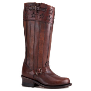 FRYE Americana Anniversary Edition Engineer Americana Tall Dk Brown Vintage Leather Boots Ladies
