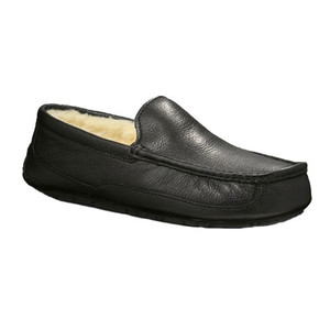 UGG Ascot Slipper Black Leather Mens 5379 | UGG 5379 Black Leather