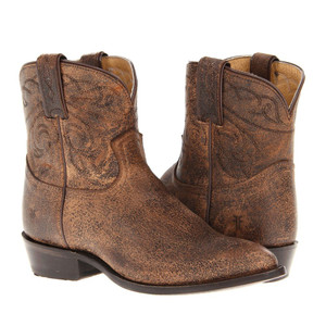FRYE Billy Stitch Short Dk Brown Cracked Leather Boots Ladies