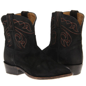 FRYE Billy Stitch Short Black Suede Boots Ladies